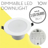 10W Dimmable Tri Colour LED Downlight Kit: 90-100mm Cut Out, White (Flat Style)