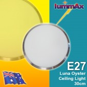 LUMMAX Luna Frame E27 Socket Satin Chrome Oyster Ceiling Light (30cm)