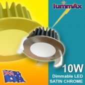 20 LUMMAX 10W Dimmable LED Downlight Kit 70mm Cutout (Satin Chrome)