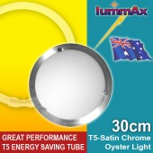LUMMAX Solo Satin Chrome Oyster Ceiling Light T5 Energy Saving Tube Incl (30cm)