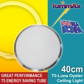 LUMMAX T5 Energy Saving Tube Luna Frame Satin Chrome Oyster Ceiling Light (40cm)