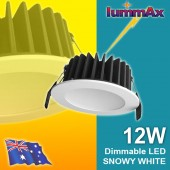 20 LUMMAX 12W Dimmable LED Downlight Kit  90mm Cutout (Snowy White)