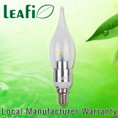 LEAFI 3W E14 Energy Saving LED Flame Globes Candle Light Bulbs - Satin Chrome