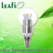 LEAFI 3W E14 LED Spherical Energy Saving Candle Light Bulb Globe -  Satin Chrome Base