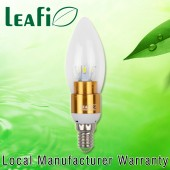 LEAFI 3W E14 LED Globes Energy Saving Candle Ellipse Light Bulbs - Golden Base