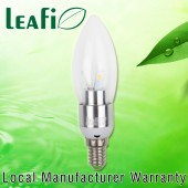 LEAFI 3W E14 LED Globes Energy Saving Candle Ellipse Light Bulbs - Satin Chrome