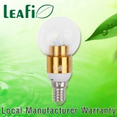 LEAFI 3W E14 LED Spherical Energy Saving Candle Light Bulb Globe -  Golden Base