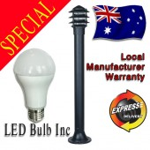 LUMMAX 3604 Outdoor  Aluminium Die-casting Black 1M Bollard Post Light - 9W LED Bulb